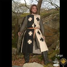 MEDIEVAL KNIGHT CRUSADER Middle Ages Black White Sleeveless TUNIC SURCOAT New