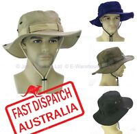 WORK FISHING SUMMER OUTBACK SUN HAT WIDE BRIM PACKABLE COTTON DRAW STRING M / L