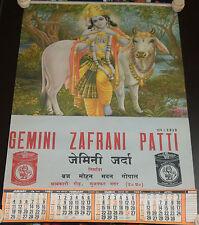 INDIA VINTAGE AD CALENDAR ZEMINI ZAFRANI ZARDA/ TOBACCO ,PIC COW & GOD KRISNA