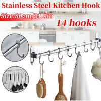 14 S Hooks Kitchen Bathroom Wall Mount Rail Stainless Steel Pot Pan Rack Hangers