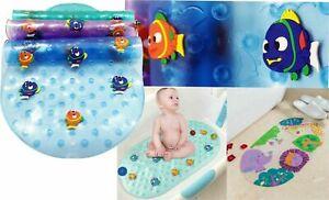 ZMUM67 KIDS BATH SHOWER MAT NON SLIP WITH MULTI COLOUR, RUBBER FISHES