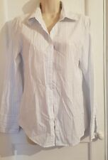 POETRY LADIES SIZE 10 WHITE BLUE STRIPED 100% COTTON LONG SLEEVE SHIRT B4