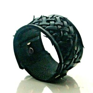 Leather Cage Cuff Wristband Bracelet will fit small to large Handmade in the UK