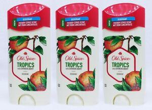 3 Old Spice TROPICS with CITRUS ZEST Deodorant Solid Men 3.0 oz