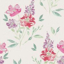 White Red Green Floral Glitter Wallpaper Vinyl Flower Watercolour Abstract