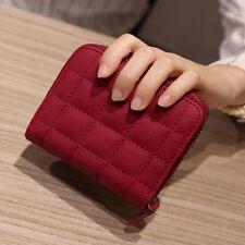 Women Leather Square ZIPPER Purses Lattice Wallet Pouch Mini Bag Card Holders Red