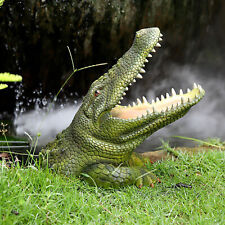 Green 3D Alligator Head Statue Crafted Sculpture Home Garden Desk Décor