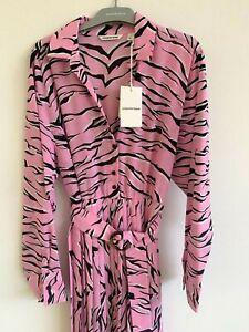 COUNTRY ROAD : NEW! SZ 12 print pleat shirt dress pink (M)