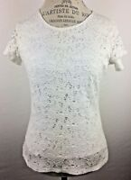 Womens Shirt Top Size XS White Lace Overlay Lined Short Sleeve Coldwater Creek
