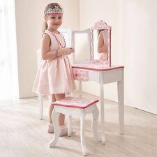 Vanity Table and Stool Set Pink Giraffe Bedroom Playroom Princess Makeup Station