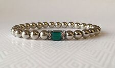 Stainless Steel Beaded Bracelet May Birthstone Emerald Green Stretch Stacking