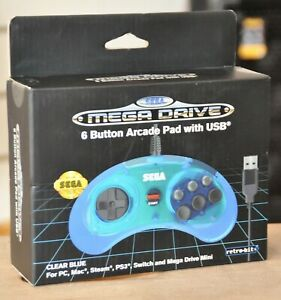 SEGA MEGADRIVE Retro-Bit 6 Button Arcade PAD USB Controller (Clear Blue) SEALED