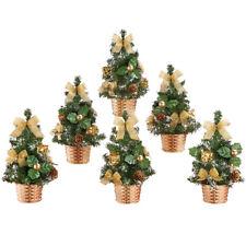 Festive Mini Gold Christmas Trees - Set of 6