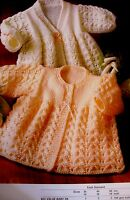 """#41 Baby Girls 14- 18"""" DK 2 in 1 Lacy Matinee Coats Vintage Knitting Pattern"""
