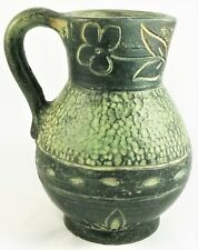 Stoneware Jug Ceramic Antique Vintage Pottery Glaze Pitcher Flowers Floral Decor