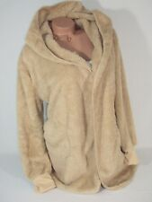 Sherpa Hooded Jacket Coat Faux Fur Warm Beige SNUGGLE Hoodie 2X NEW XXL