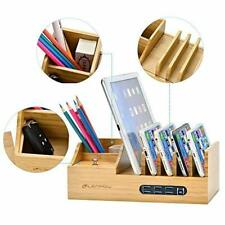Bamboo Charging Station Wood Docking Phone Tablet Multi Devices Desk Organizer