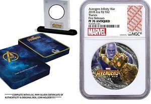 2018 Fiji 2oz .999 Silver Coin Marvel Avenger's Thanos - NGC PF70 W/ COA & OGP !