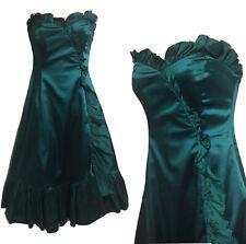 Vestido De Noche Costa Esmeralda Verde Azulado Y2K Satén de seda de fecha Cóctel Fiesta UK 8 XS 90s