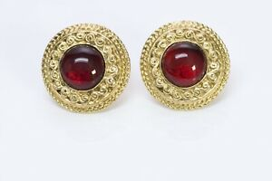 CHANEL Paris 1980's Gold Plated Red GRIPOIX Glass Round Earrings