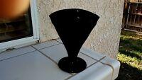 """Black Fan Vase 7"""" Tall 5¼' Wide At The Top - Hazel-Atlas"""