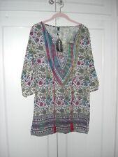 NEW MY DRESS ROOM TUNIC/DRESS/TOP L/WEIGHT GREEN/RED/MULTI/TASSEL - S 8/10 BNWT