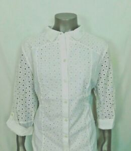 CHICO'S EYELET-MIX SHIRT Color: White, New With Tags!!!!