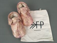 New FRESHLY PICKED Gold-Pink Snake Print Girls Shoes-Moccasins Size.8 USA Made