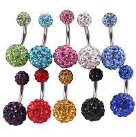 1pcs Navel Belly Button Ring Barbell Rhinestone Crystal Piercing Body Jewelry
