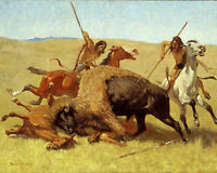 Native American & Horse Buffalo Hunt Indian Painting Fine Art Real Canvas Print