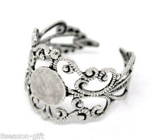 100 Silver Tone Adjustable Filigree Ring Settings US 8