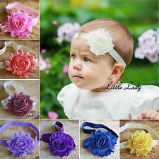 Baby Girl Elastic Headband Hair Band Shabby Flower Rose Christening Wedding Soft