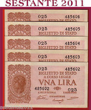 ITALIA ITALY, 1 LIRA LUOGOTENENZA 1944 Sign. Ventura P. 29a, 5 NOTES FDS / UNC
