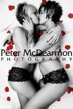 "TWO LESBIAN GIRLS KISSING POSTER PRINT ""ROSE PETALS"""