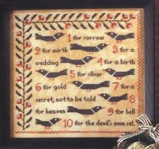 BIRDS OF A FEATHER CROSS STITCH COUNTING MAGPIES SAMPLER CHART