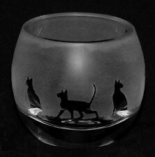 *SIAMESE CAT* Boxed CRYSTAL GLASS TEA LIGHT CANDLE HOLDER