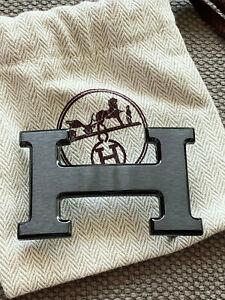 NEW MODEL HERMÈS 32MM Belt Buckle BLACK MATT NOIR BRUSHED H with Pouch