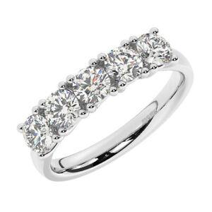 1.25ct Trellis Set Round Cut Diamond Five Stone Ring in 950 Platinum