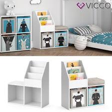 Vicco Kinderregal Luigi weiß mit Sitzbank Spielzeugablage Regal für Kinder Comic