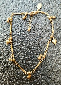 """PANAMA JACK GOLD TONED 9"""" CHAIN, ANKLET BRACELET WITH HEART CHARMS"""