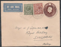 1932 AIR MAIL COVER 1s RATE BELVEDERE KENT TO SINGAPORE MALAYA