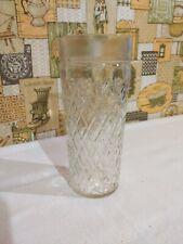 "Vtg Heavy Pressed Glass 20oz.To Rim Tumbler Raised Diamond Pattern 7.5"" Ice Tea"