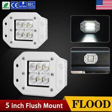 """2x 5inch 160W Flush Mount CREE LED Work Light Pods Flood Driving Lamp 12V 24V 5"""""""