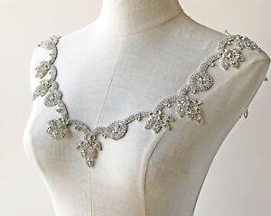 Rhinestone Chain Crystal Bridal Dress Applique Beaded Dancing Wedding Dress Trim
