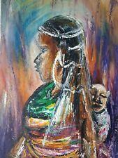 African olio/acrilico dipinto originale firmato DONNA CON BAMBINO TRIBAL Folk Art