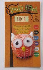 aa LUCK LUCKY ART GLASS OWL a person makes his own luck Pocket Token Figurine