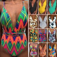 Women Floral One Piece Swimsuit Push-up Padded Swimwear Monokini Beacher Bikini