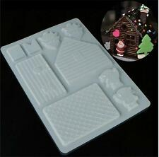 Christmas House Xmas Cake DIY Mold Baking Tools Chocolate Candy Cookies Decor ns