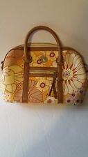 SPARTINA 449 Yellow Linen & Leather Bag Yellow FLORAL  NEW  12 inches by 9 inch