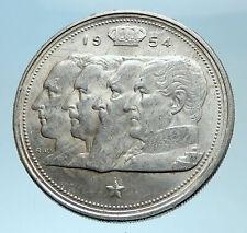 1954 BELGIUM Kings Leopold I II III & Albert I Silver 100 Francs Coin i78082